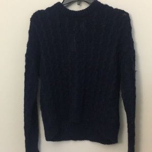 H&M's Navy Blue Knitted Fuzzy Sweater